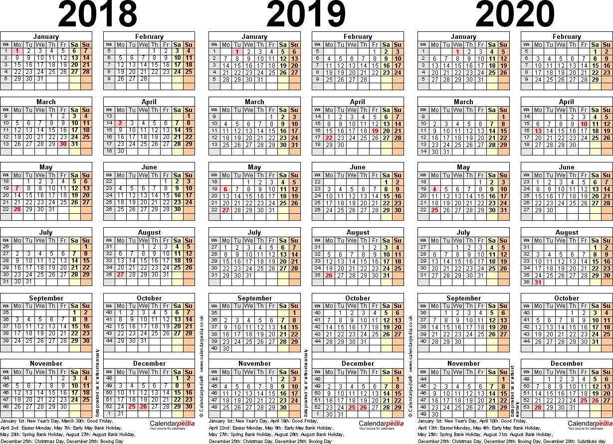 Calendar 2018 2019 2020 Printable In 3 Year Calendar