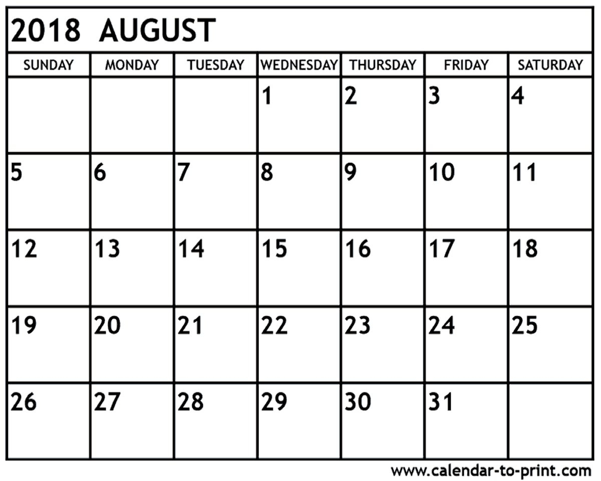 Calendar 2018 August Printable Template Download - July 2020