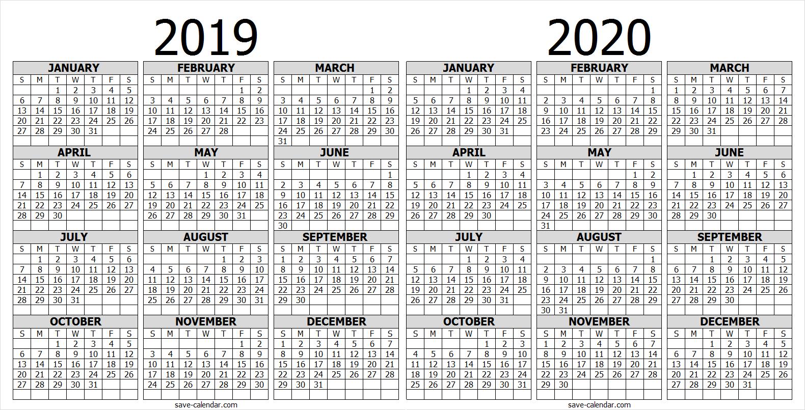 Calendar 2019 2020 One Page   2019 Calendar   Free Calendar