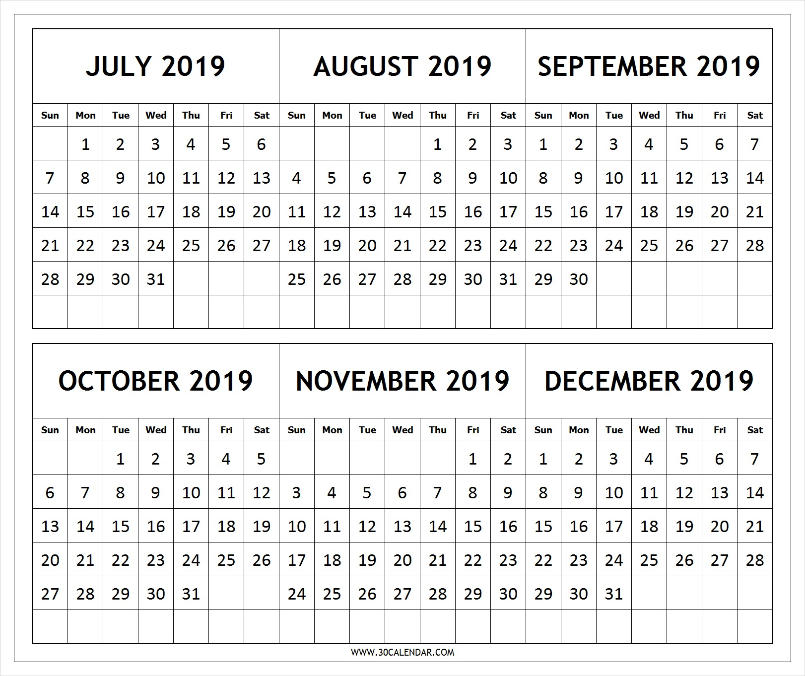 Calendar 2019 July To December Printable | 6 Month 2019 Calendar