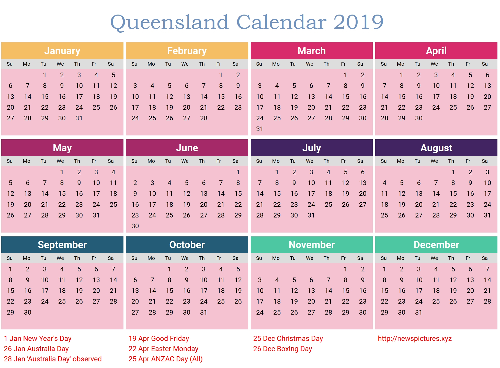 Calendar 2019 Printable With Holidays Qld • Printable Blank