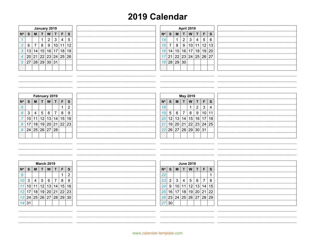 Calendar 2019 Template Six Months Per Page
