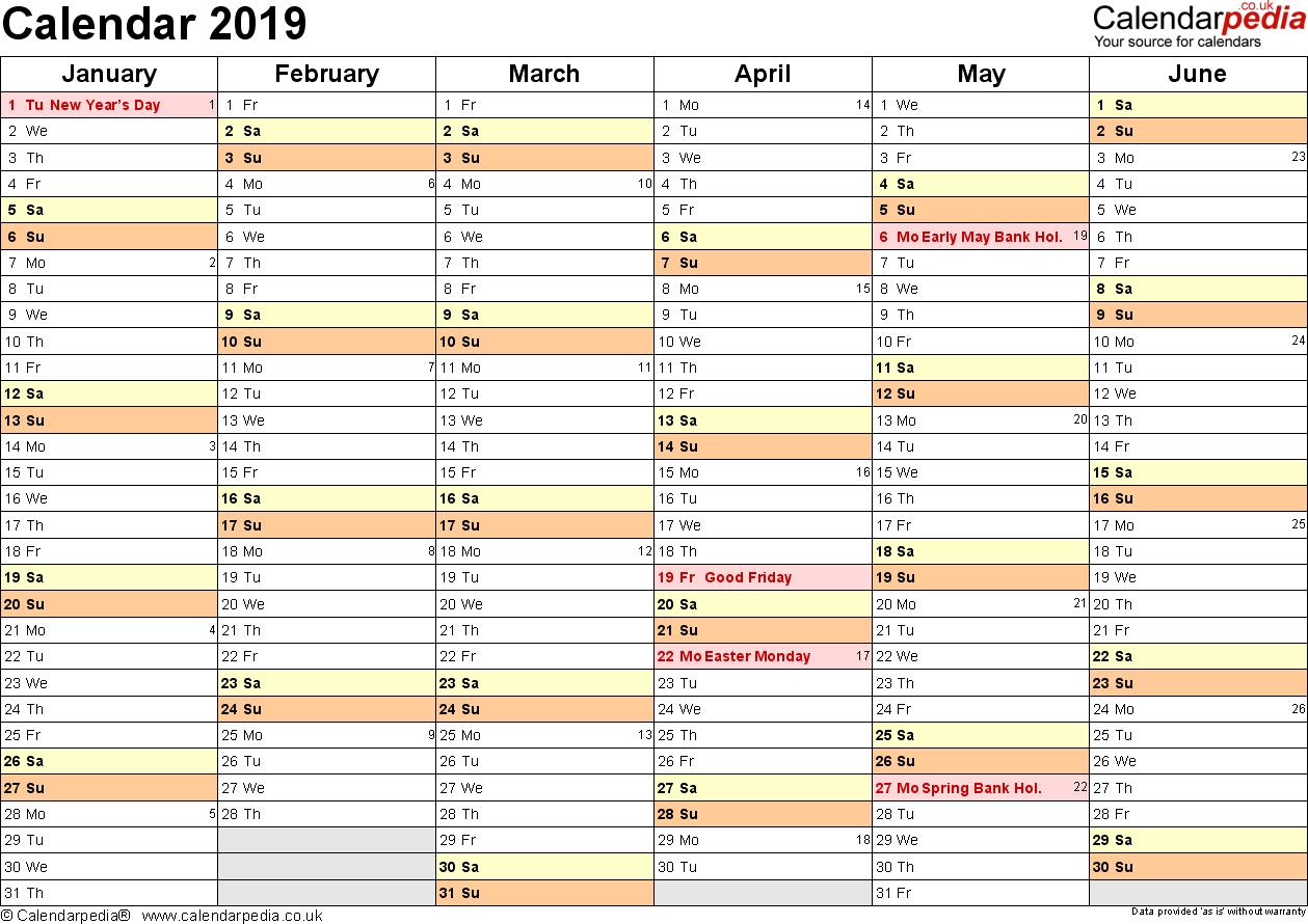 Calendar 2019 (Uk) - 16 Free Printable Pdf Templates