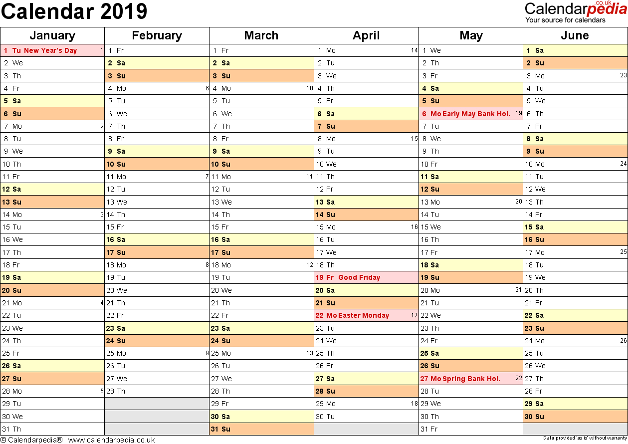 Calendar 2019 (Uk) - 16 Free Printable Word Templates