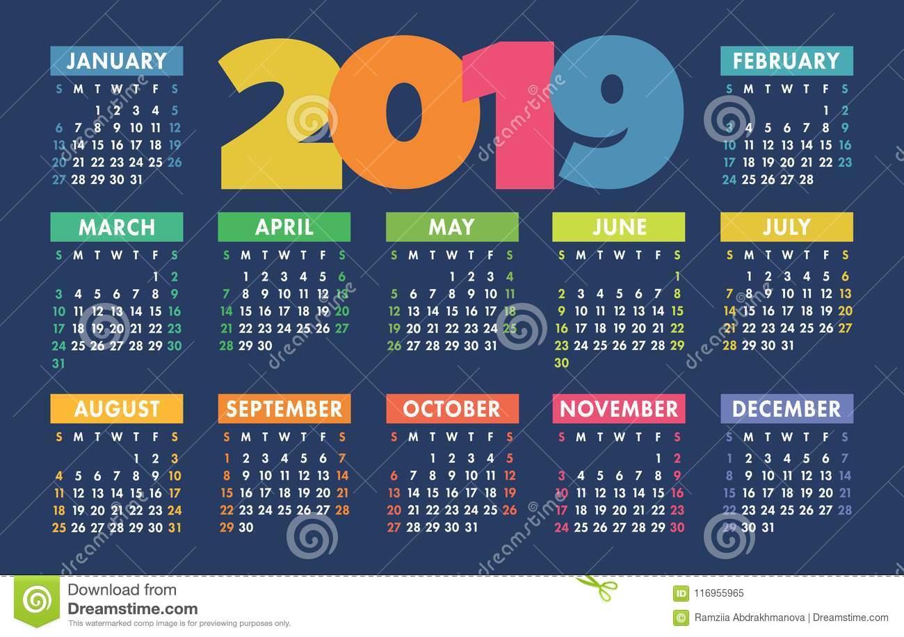 Calendar 2019 Vector Basic Grid. Simple Design Template