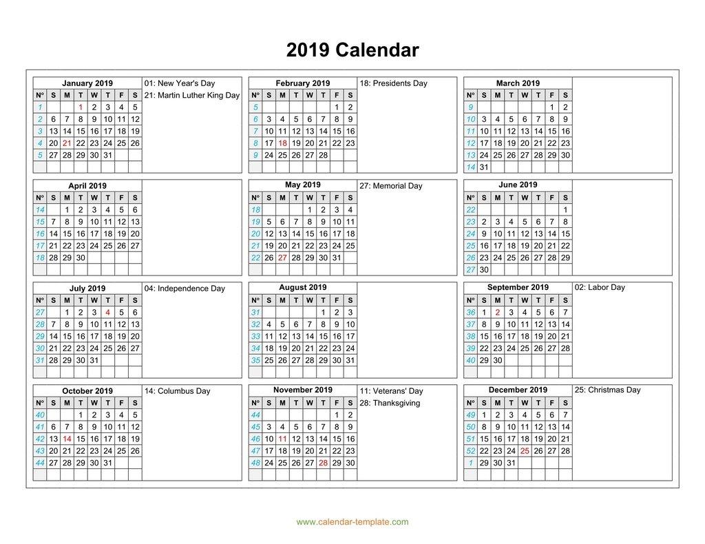 Calendar 2019 With Months In Columns
