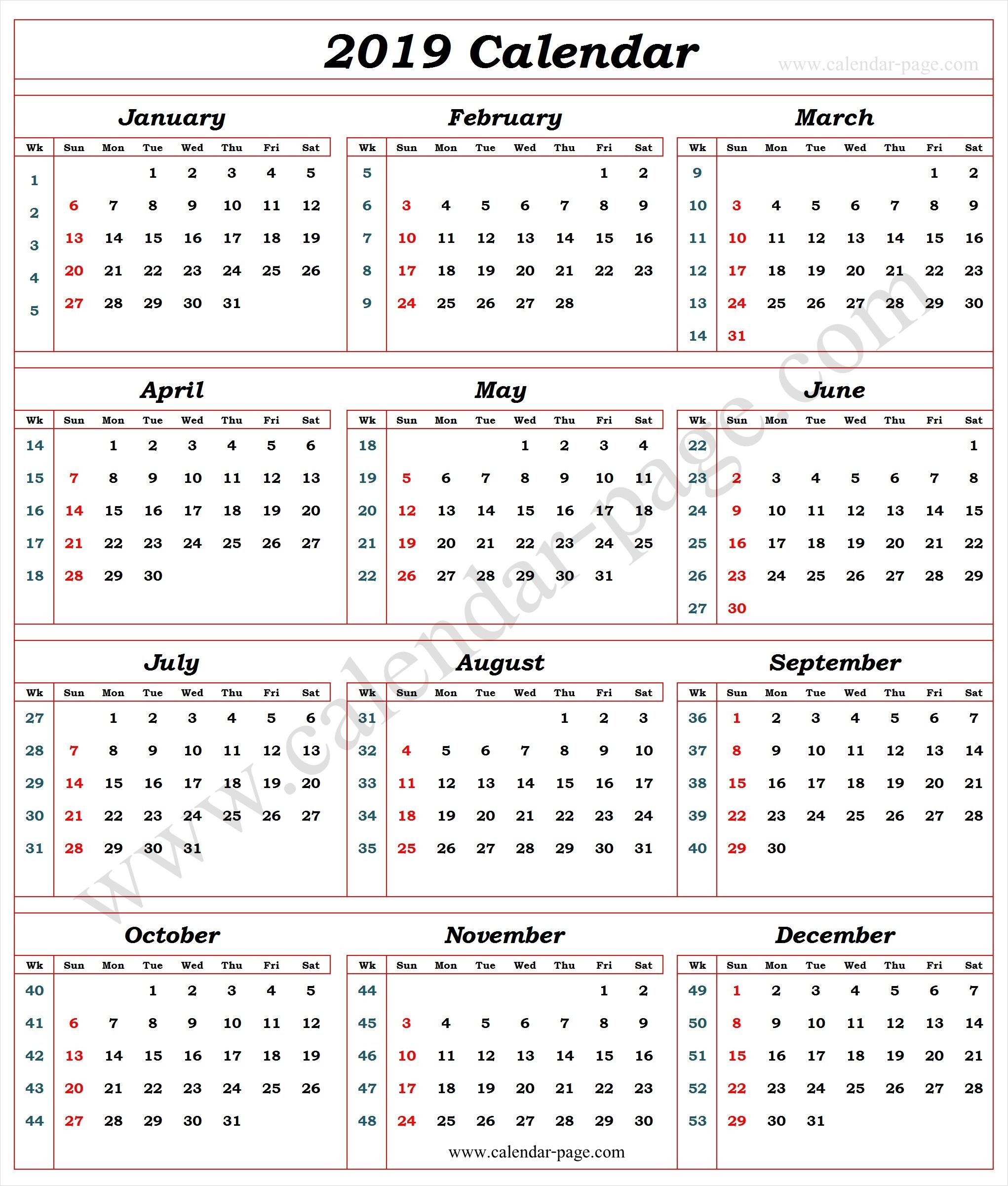 Calendar 2019 With Week Numbers | 2019 Calendar Template