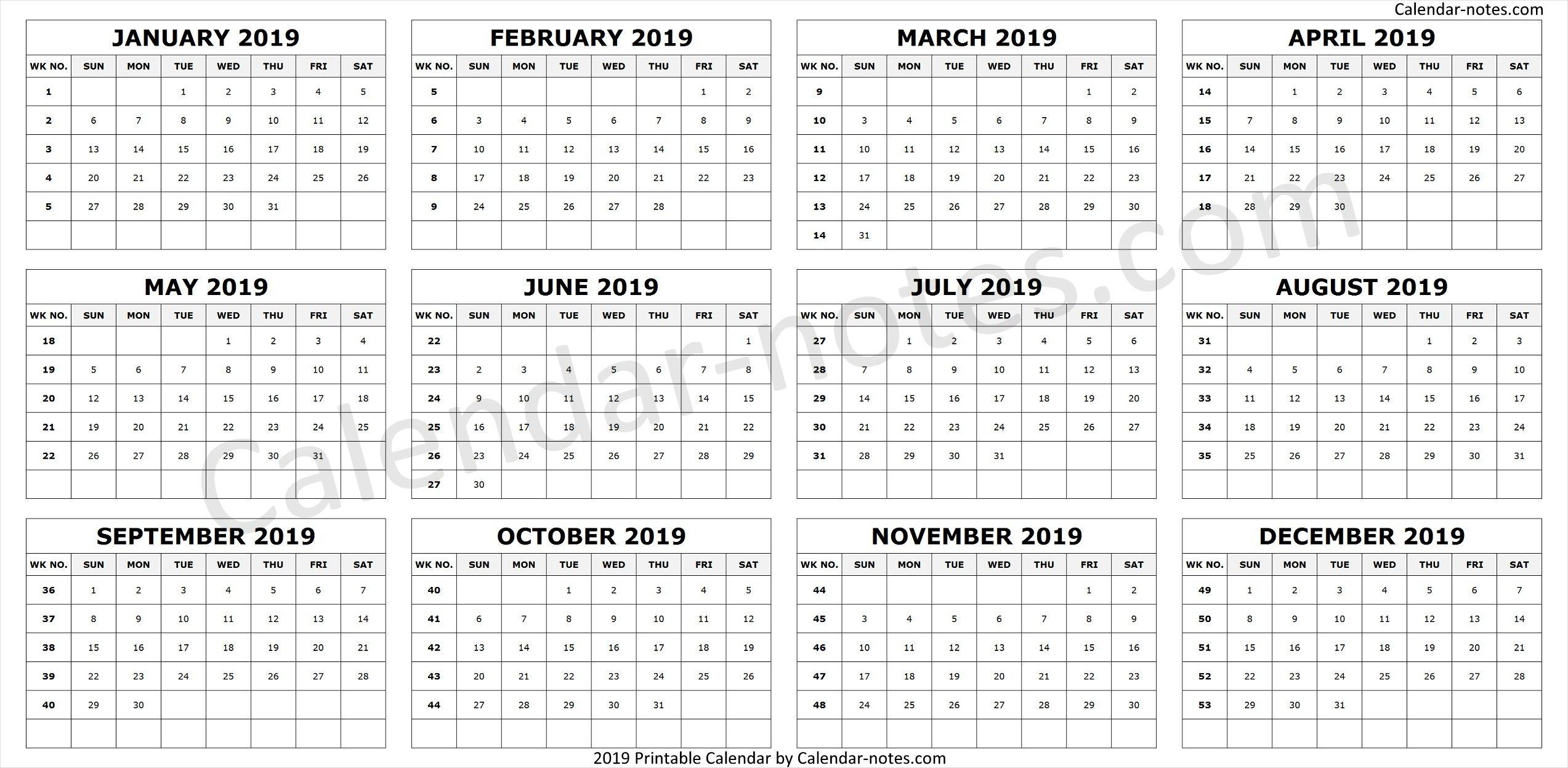 Calendar 2019Week Numbers | Calendar 2019 With Week