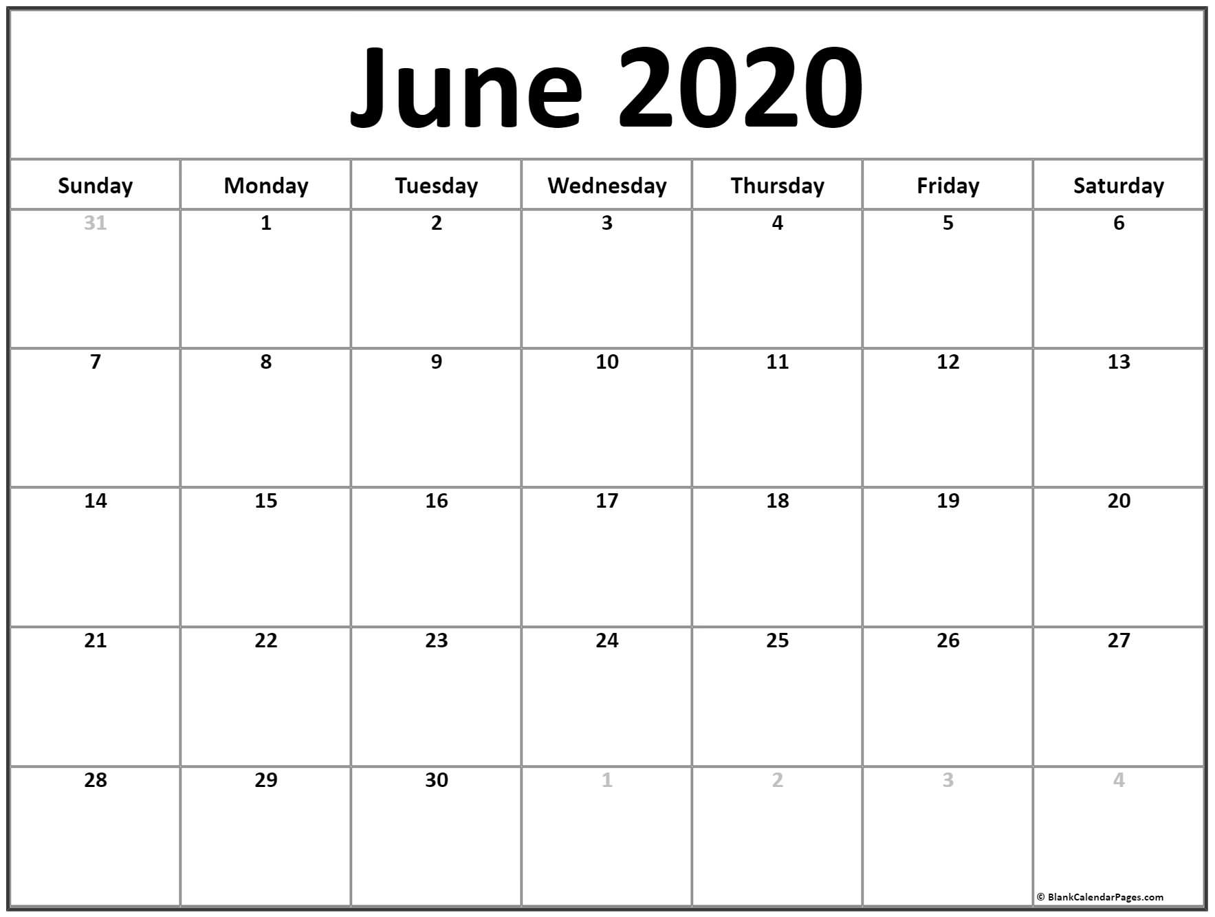 Calendar 2020 June – Get Your Calendar Printable