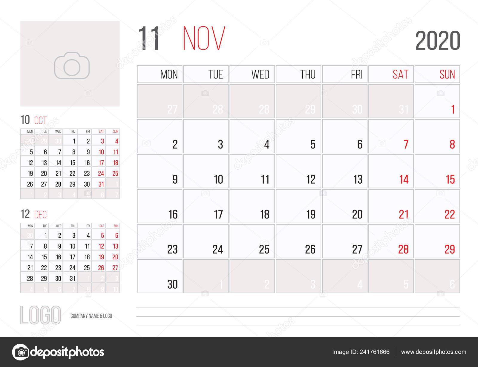Calendar 2020 Planner Corporate Template Design November