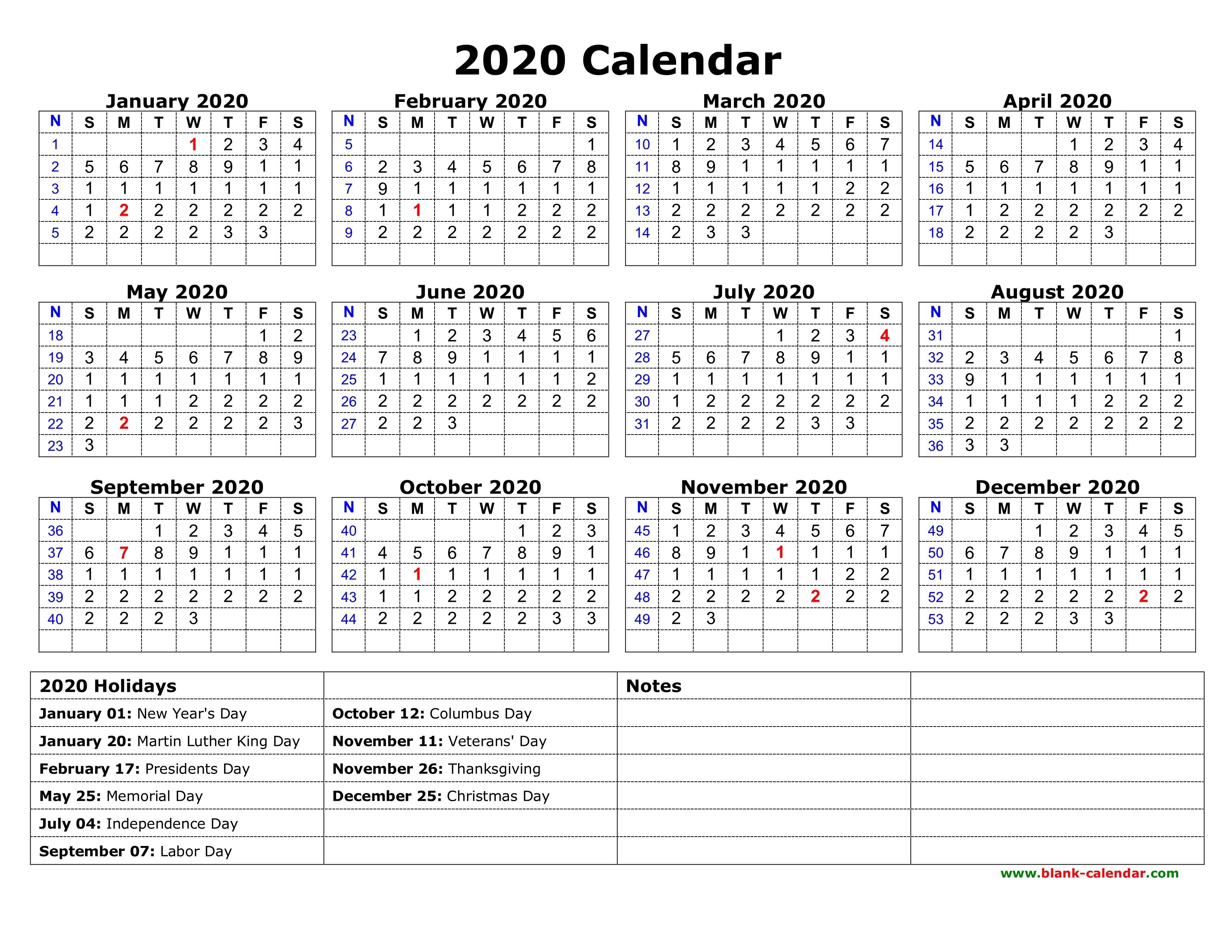 Calendar 2020 Printable With Holidays   Thekpark-Hadong
