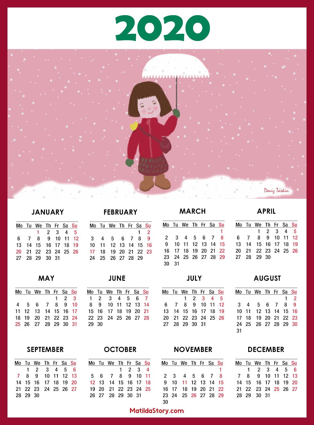 Calendar 2020 Printable With Us Holidays – Monday Start