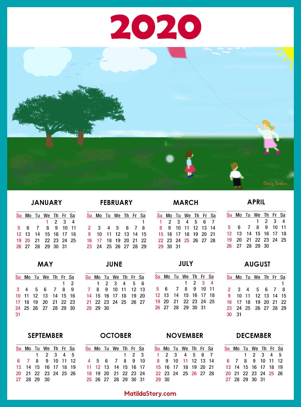 Calendar 2020 Printable With Us Holidays – Sunday Start