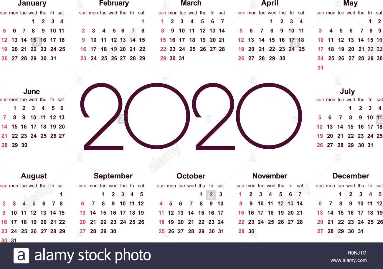 Calendar 2020 Stock Photos & Calendar 2020 Stock Images - Alamy