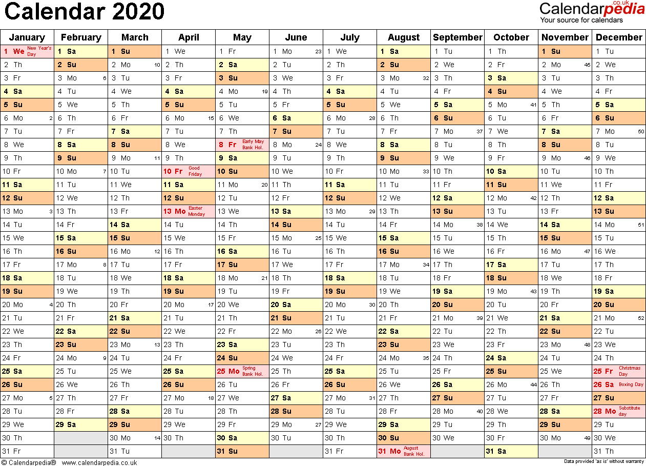 Calendar 2020 (Uk) - 16 Free Printable Pdf Templates