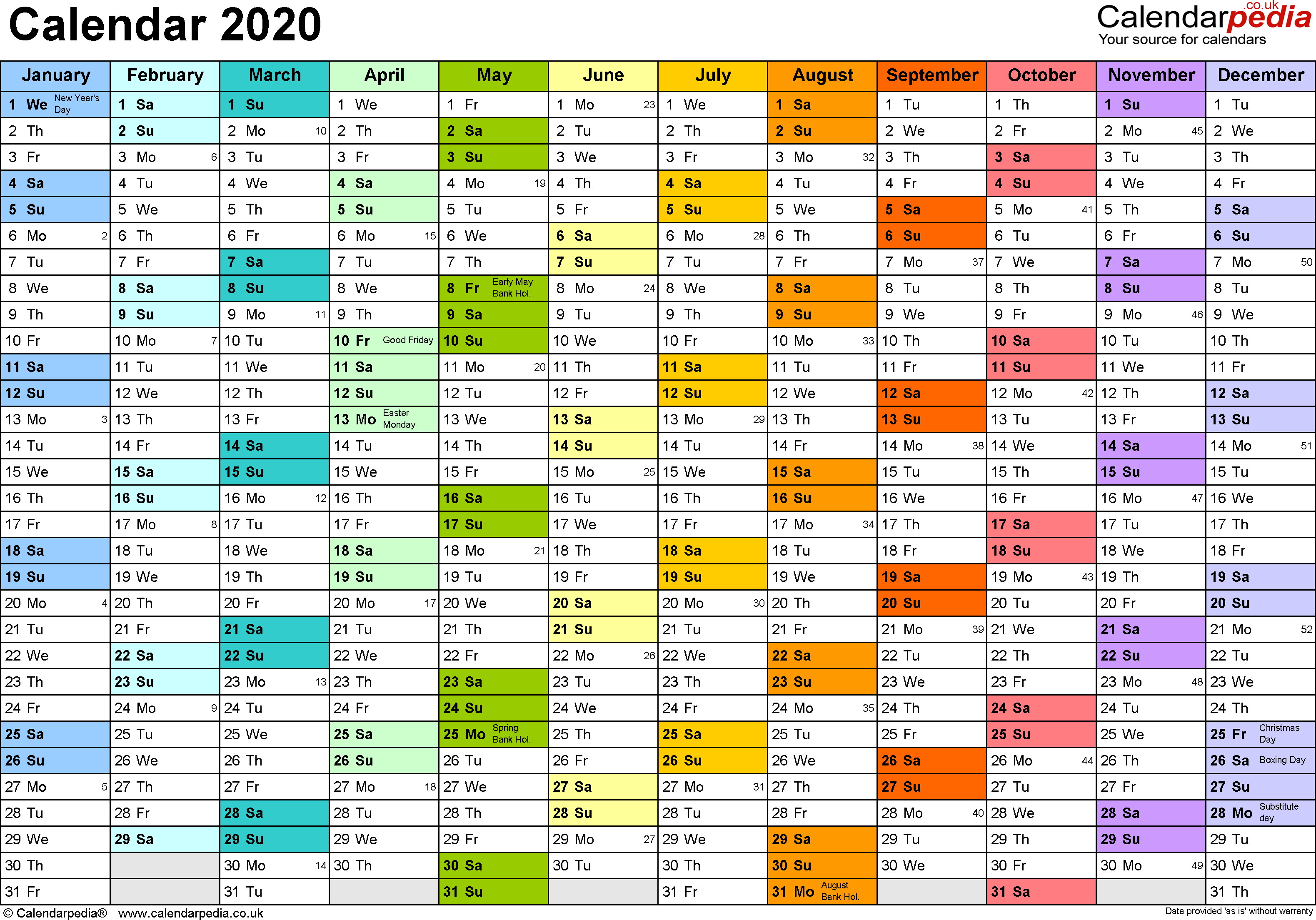 Calendar 2020 (Uk) - 16 Free Printable Word Templates