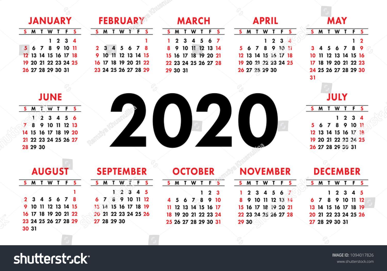 Calendar 2020 Vector Basic Grid. Simple Design Template