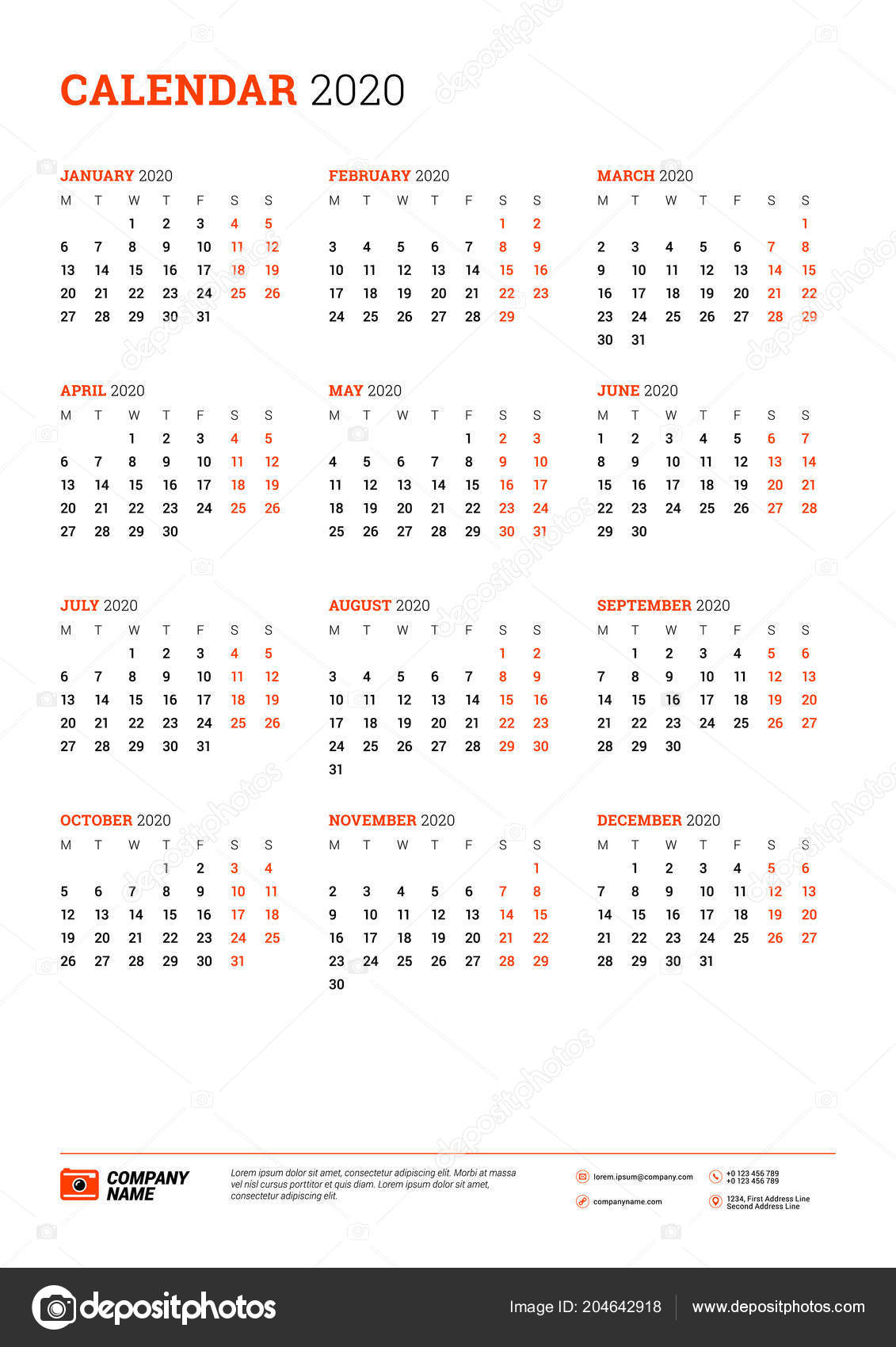 Calendar 2020 Year Week Starts Monday Printable Vector