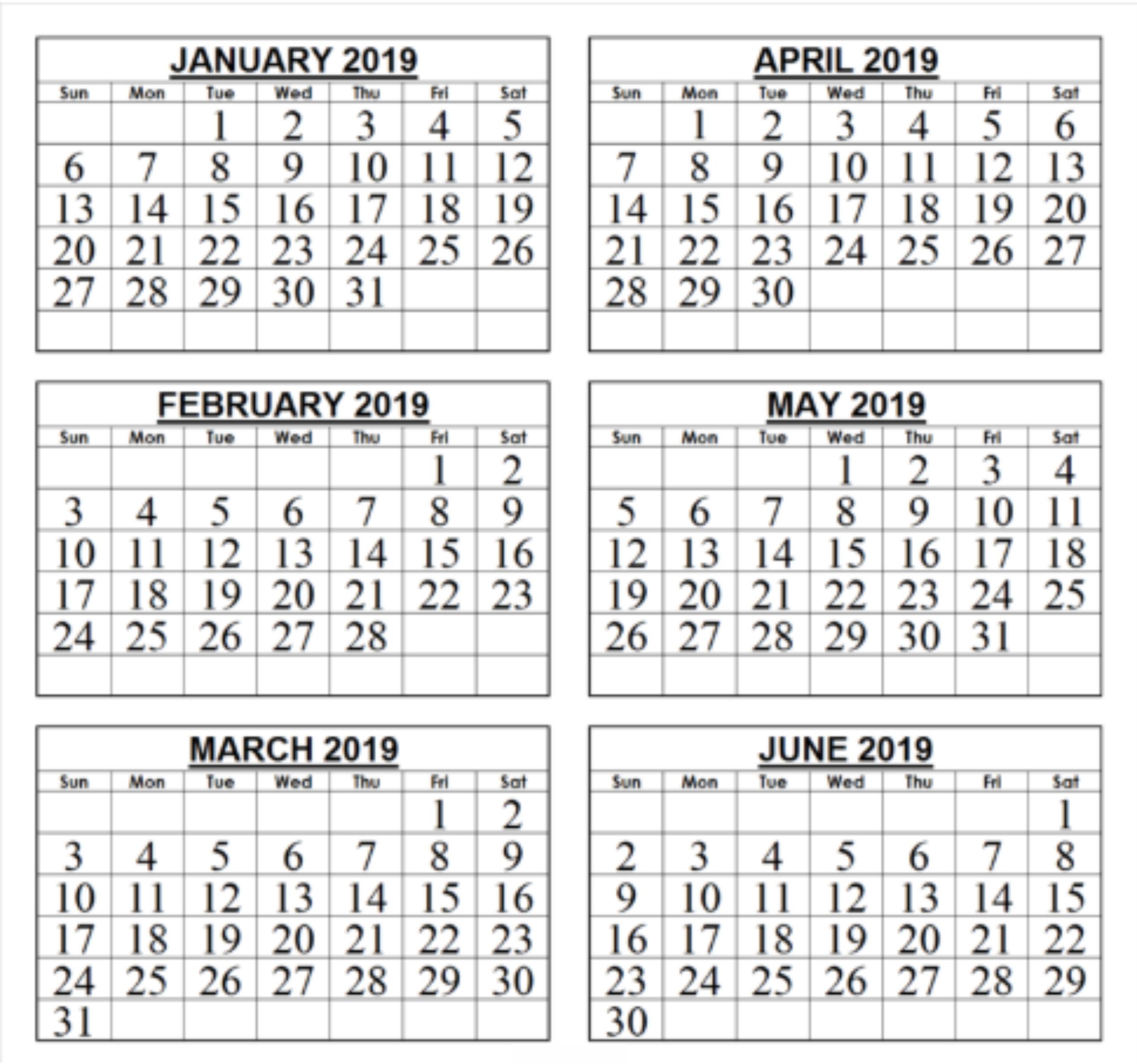 Calendar 6 Month 2019 • Printable Blank Calendar Template