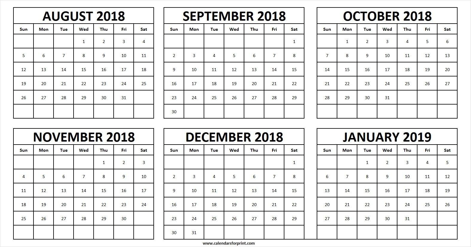 Calendar August 2018 To December 2019 | Calendar Format Example