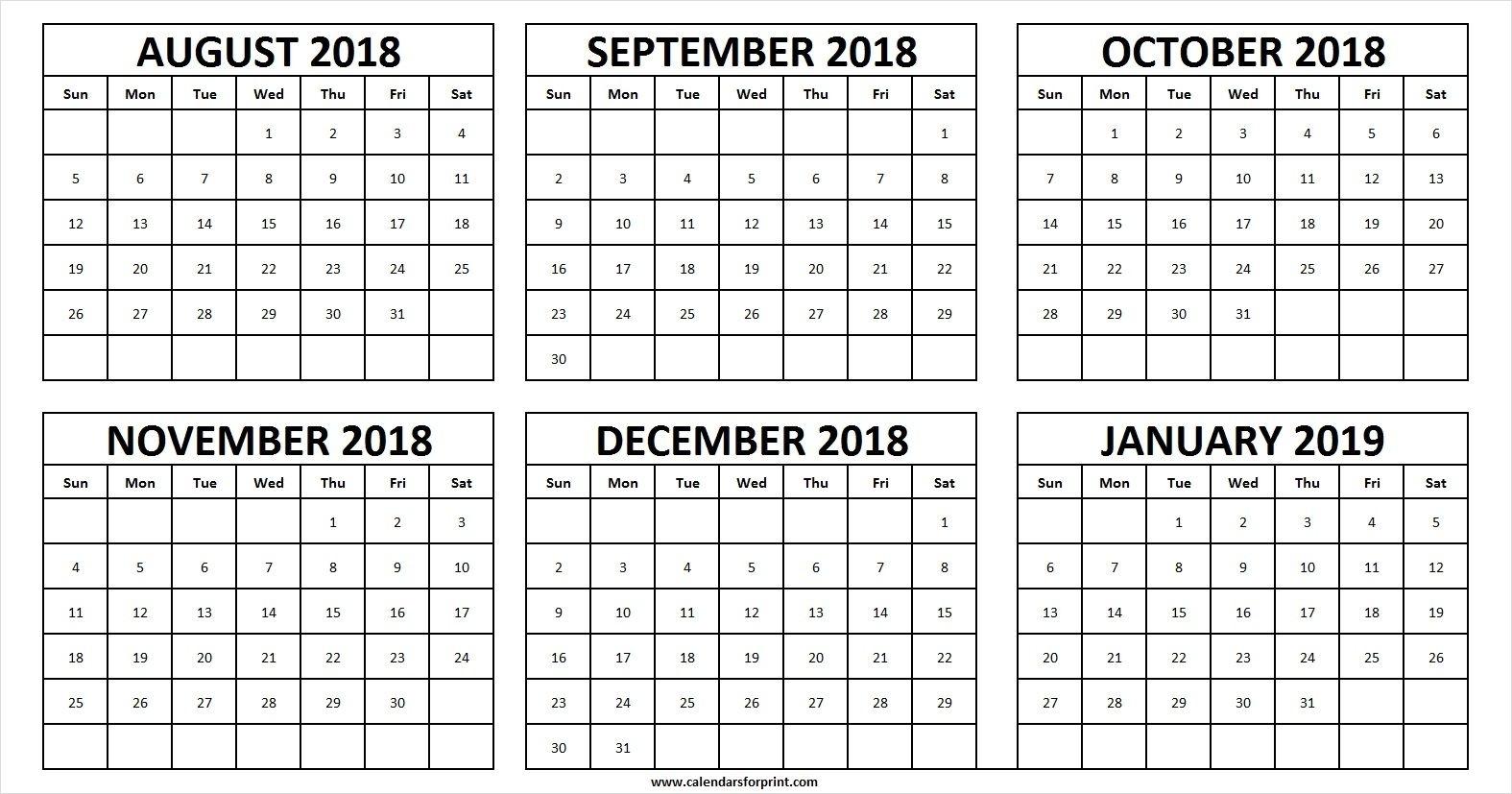 Calendar August 2018 To December 2019 | Calendar Format