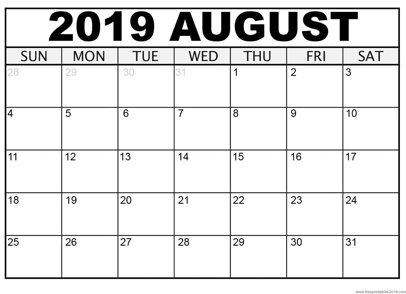 Calendar August 2019 - Free Printable Templates | Free