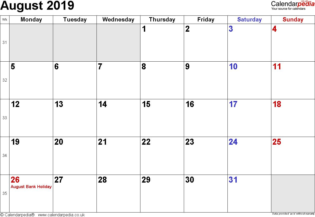 Calendar August 2019 Uk, Bank Holidays, Excel/pdf/word Templates