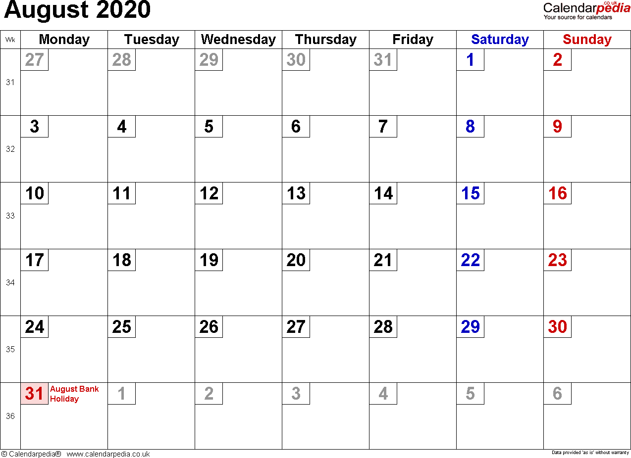 Calendar August 2020 Uk, Bank Holidays, Excel/pdf/word Templates
