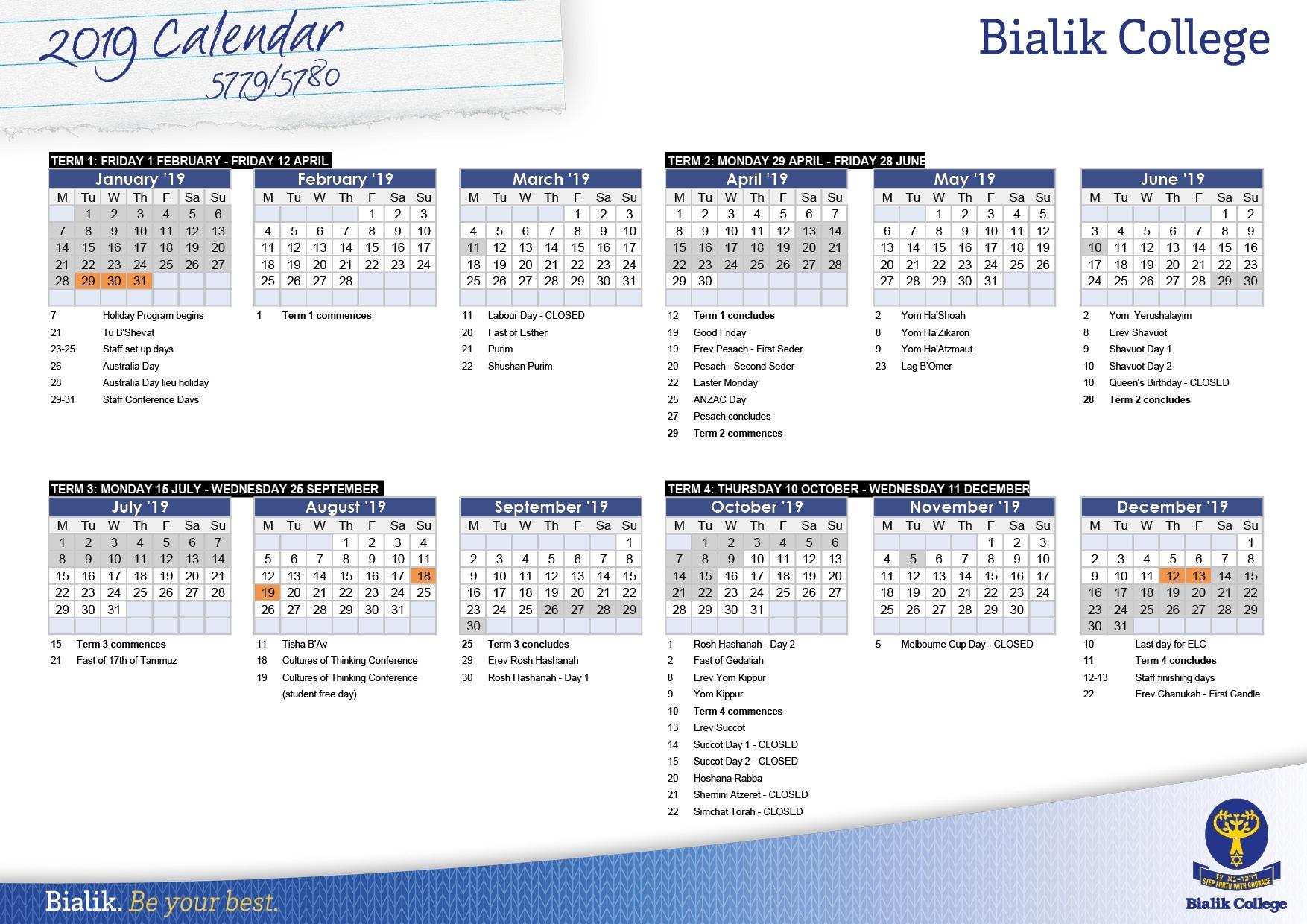 Calendar – Bialik 2020 Calendar Jewish Holidays – Get Your