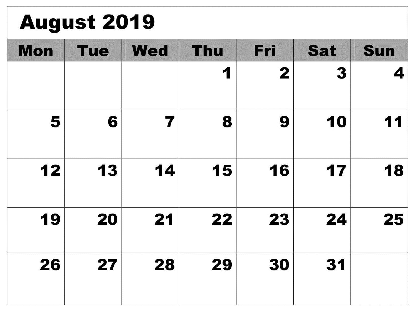 Calendar Blank August 2019 Editable | Calendar August 2019