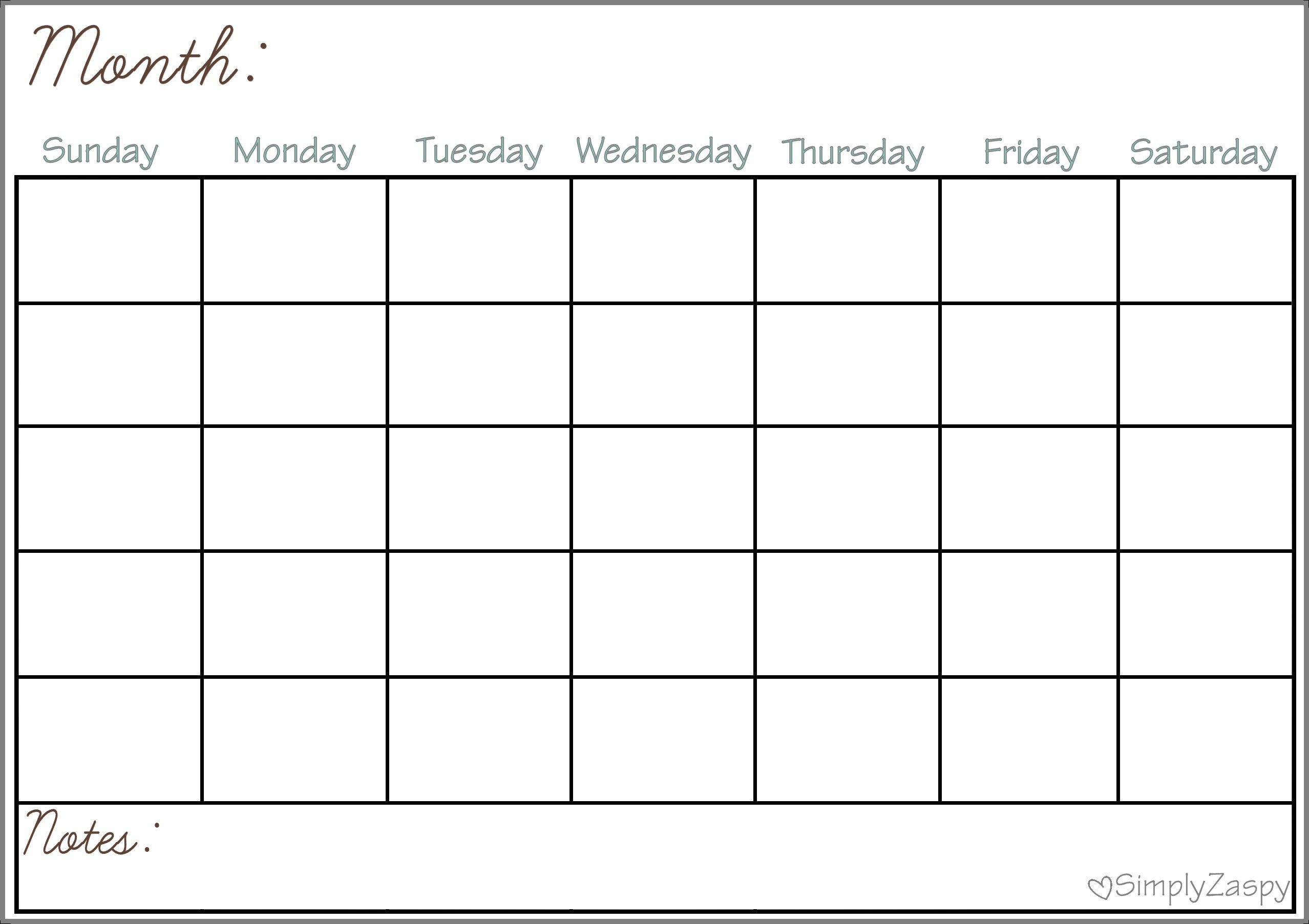 Calendar Blank Grid Printable For Free Of Charge - Calendaro