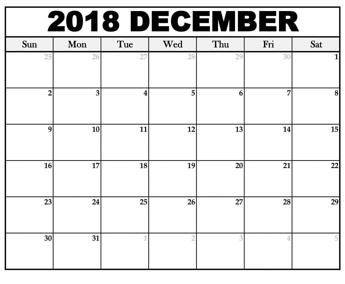 Calendar December 2018 Editable Template   Printable