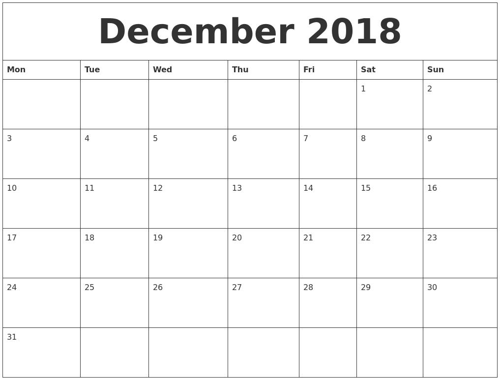 Calendar December 2018 Uk | December 2018 Calendar Uk