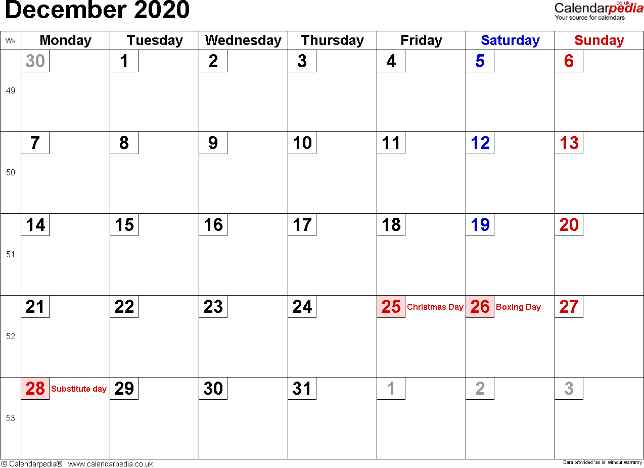 Calendar December 2020 Uk, Bank Holidays, Excel/pdf/word