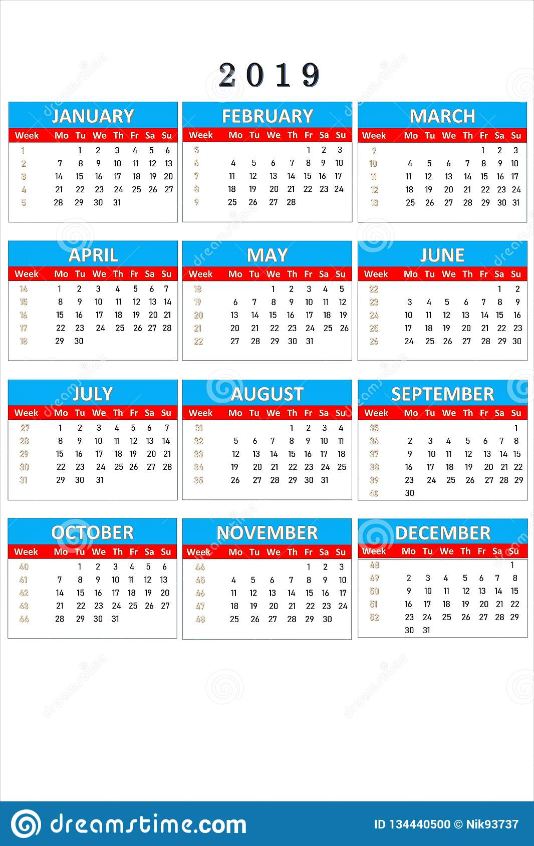 Calendar For 2019 For Notes And Office Work. Calendar Is