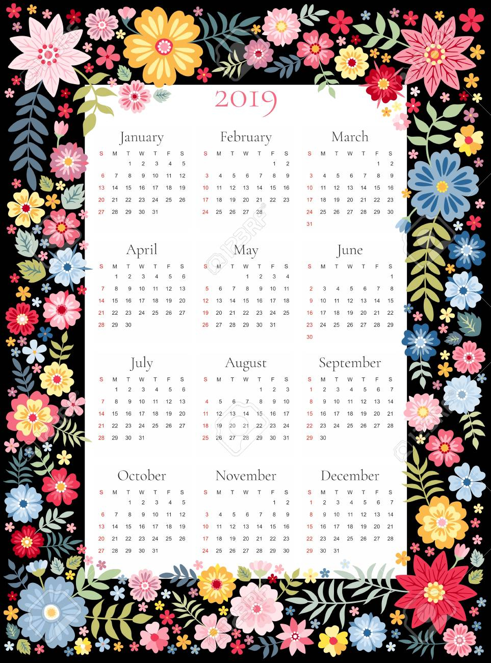 Calendar For 2019 Year. Vector Template In Floral Frame With..