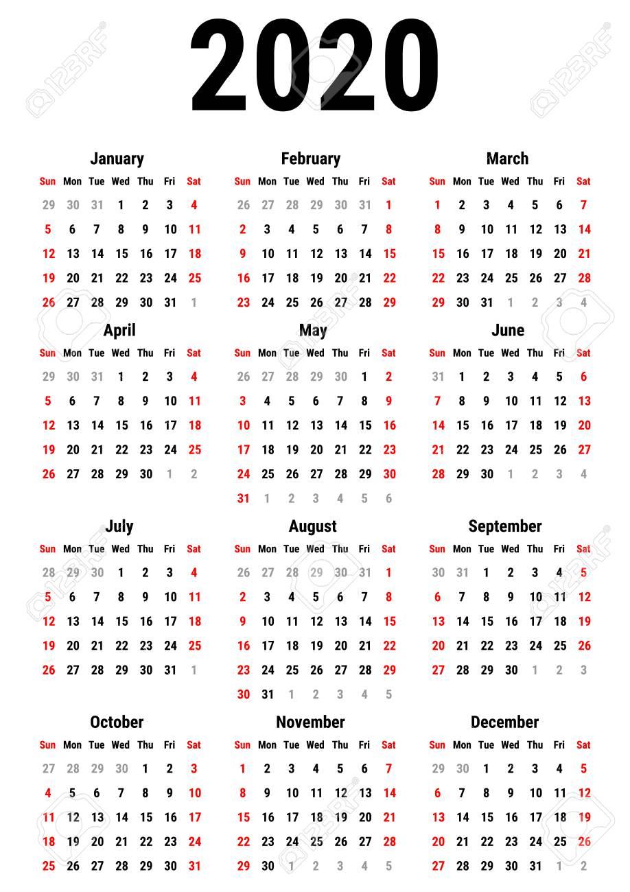 Calendar For 2020 Year On White Background. Week Starts Sunday