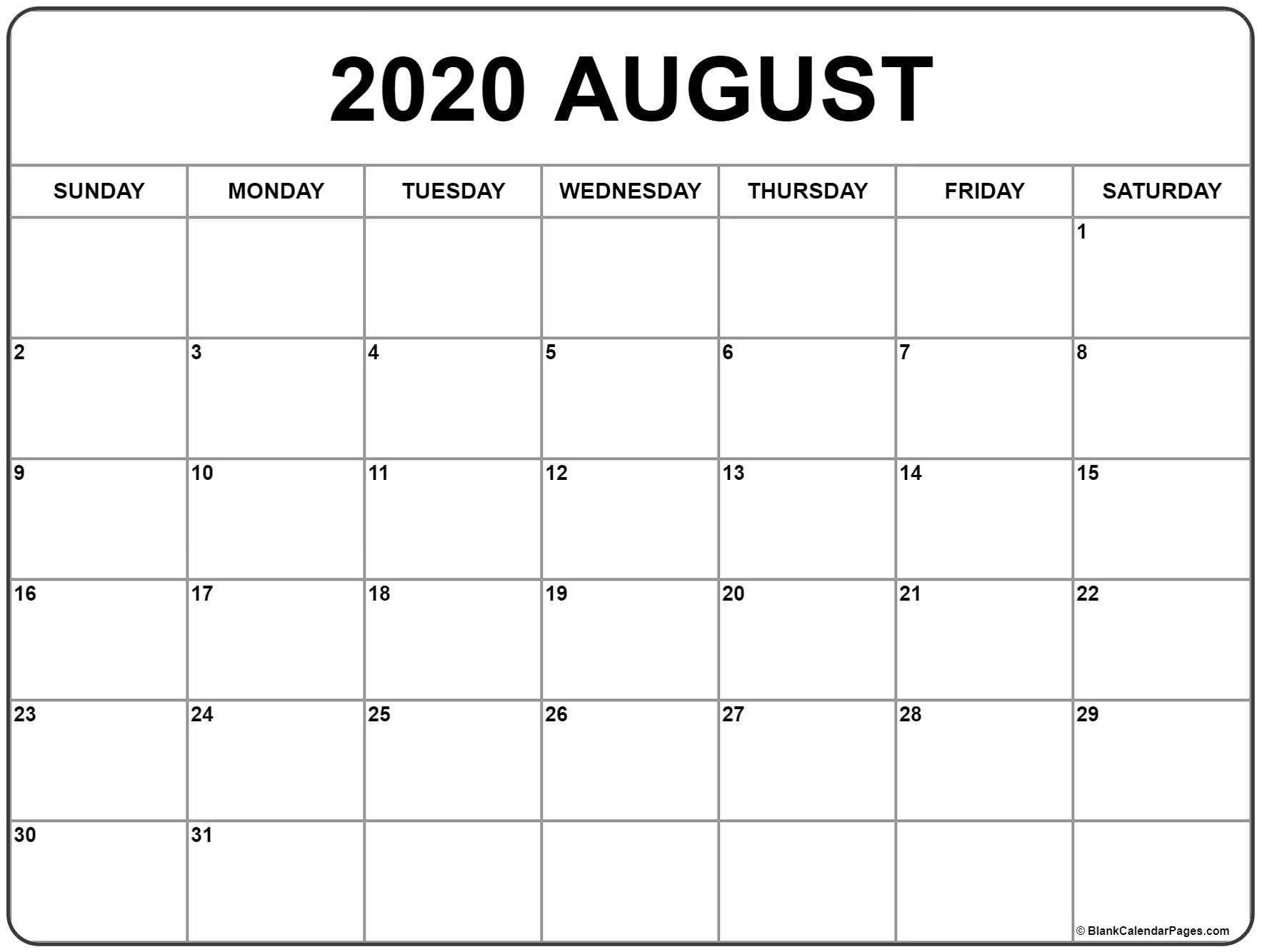 Calendar For August 2020