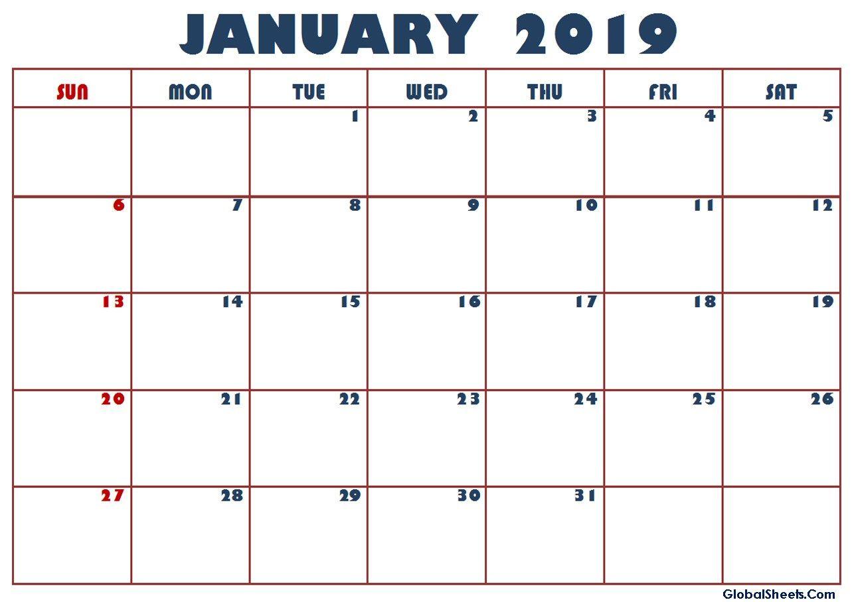 Calendar For January 2019 Philippines | January 2019