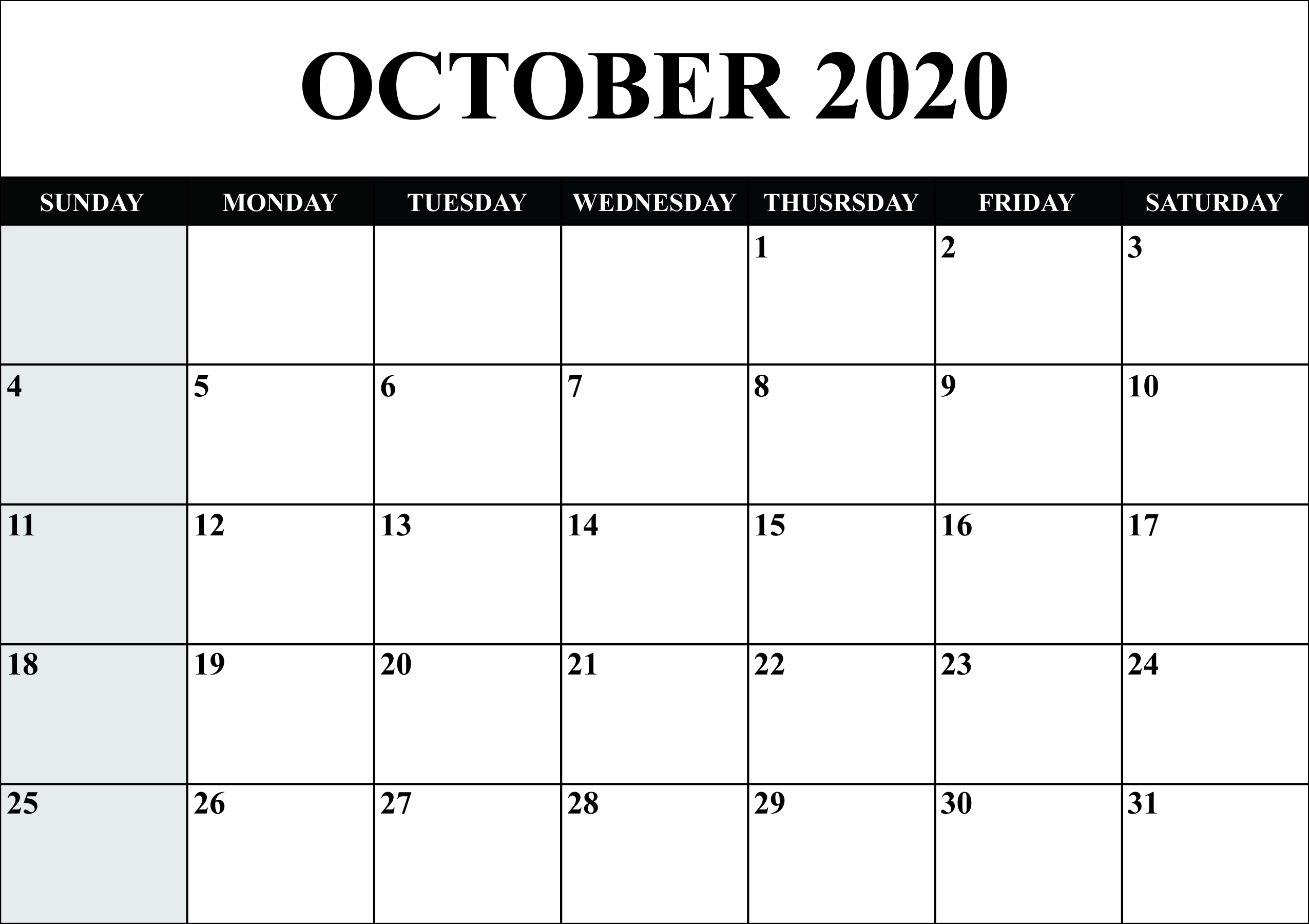 Calendar For October 2020   Monthly Calendars   Calendar