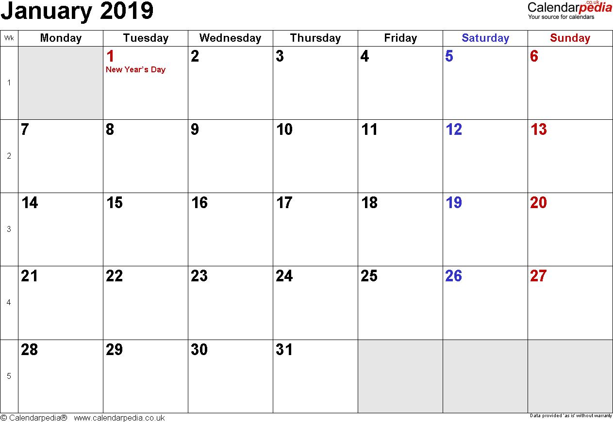 Calendar January 2019 Uk, Bank Holidays, Excel/pdf/word