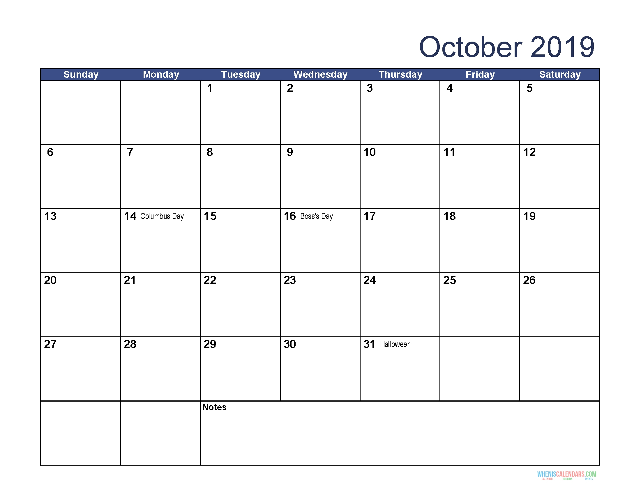 Calendar Jewish Holidays October 2019 • Printable Blank