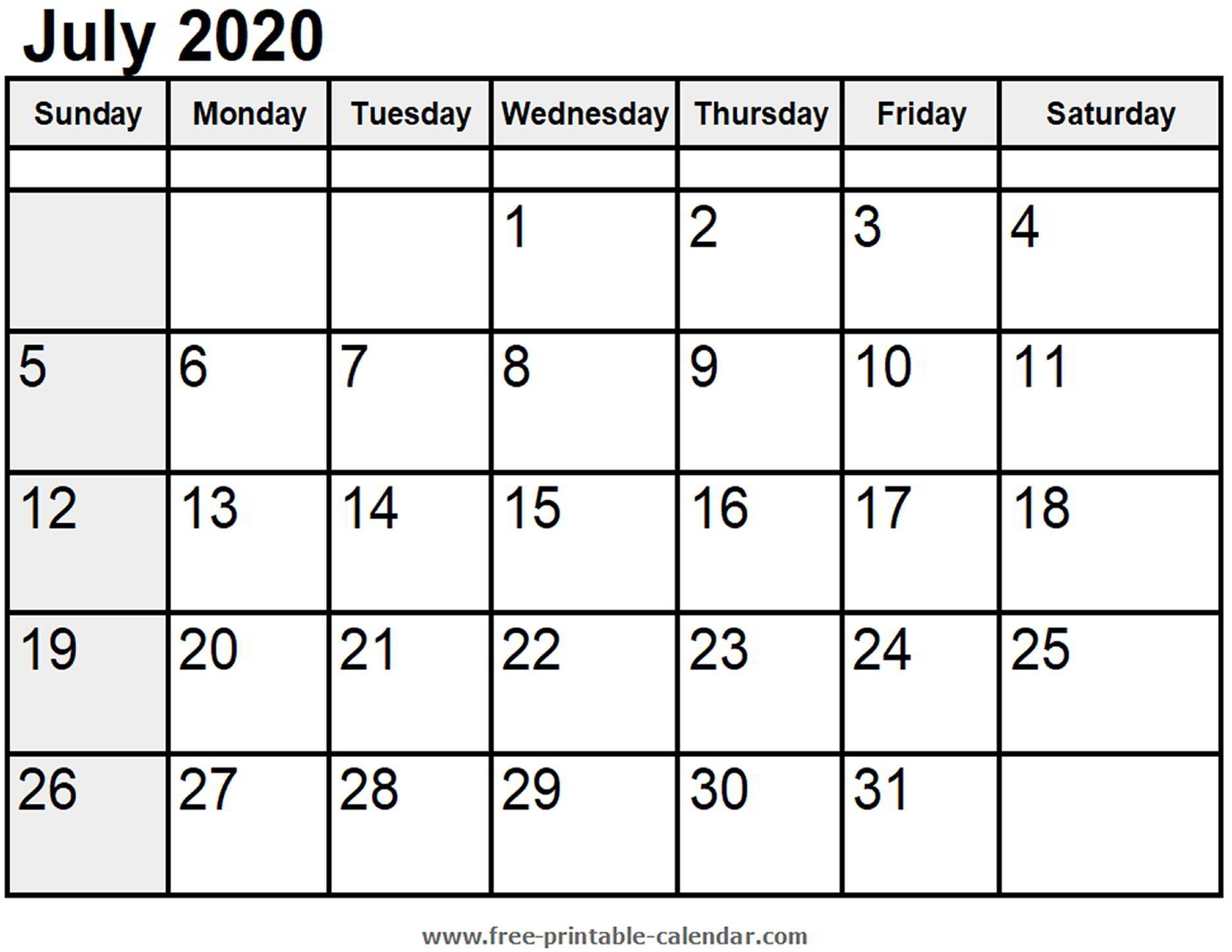 Calendar July 2020 - Free-Printable-Calendar