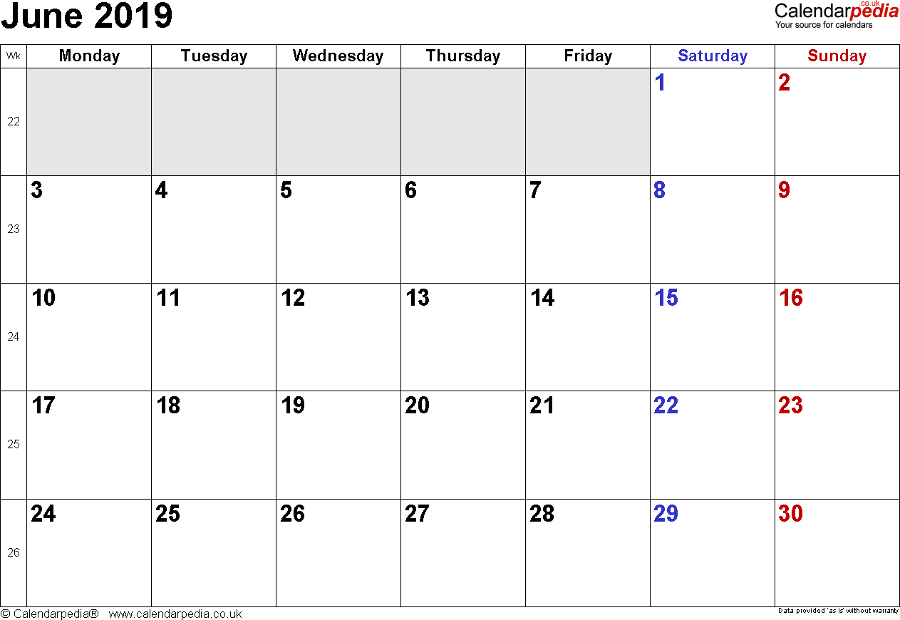 Calendar June 2019 Uk, Bank Holidays, Excel/pdf/word Templates