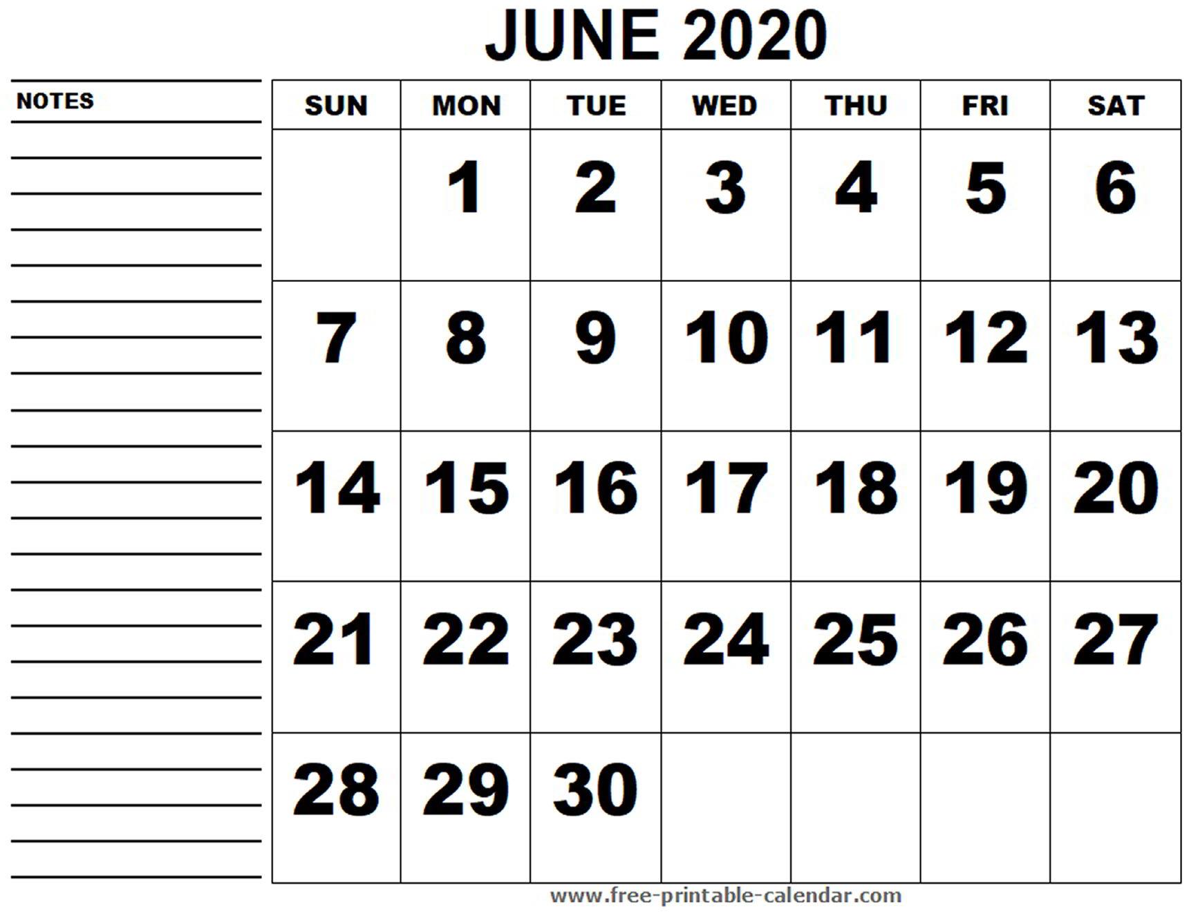 Calendar June 2020 Printable