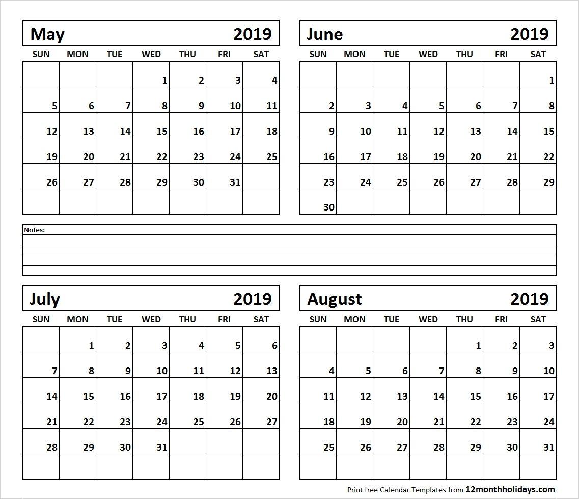 Calendar June-August 2019   Template Calendar Printable