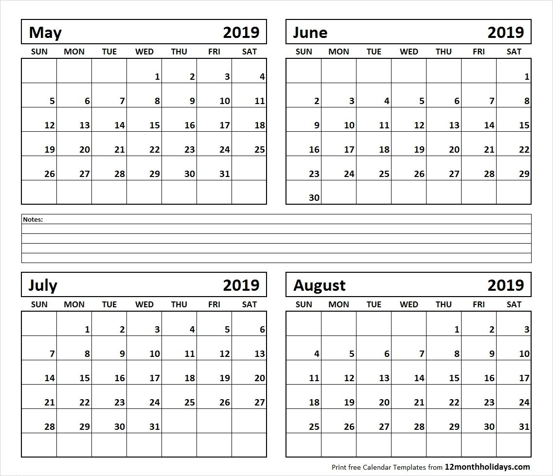 Calendar June-August 2019 | Template Calendar Printable