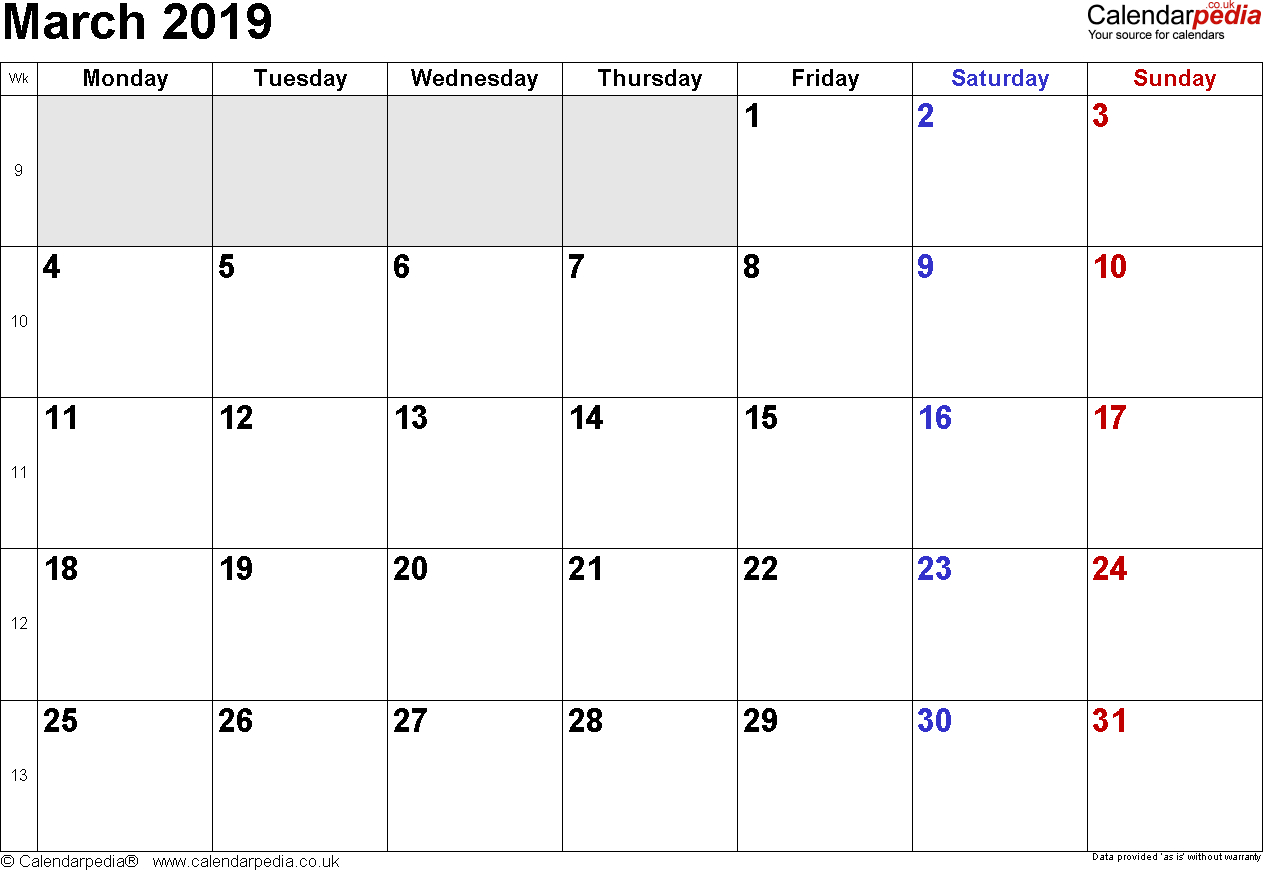 Calendar March 2019 Uk, Bank Holidays, Excel/pdf/word Templates