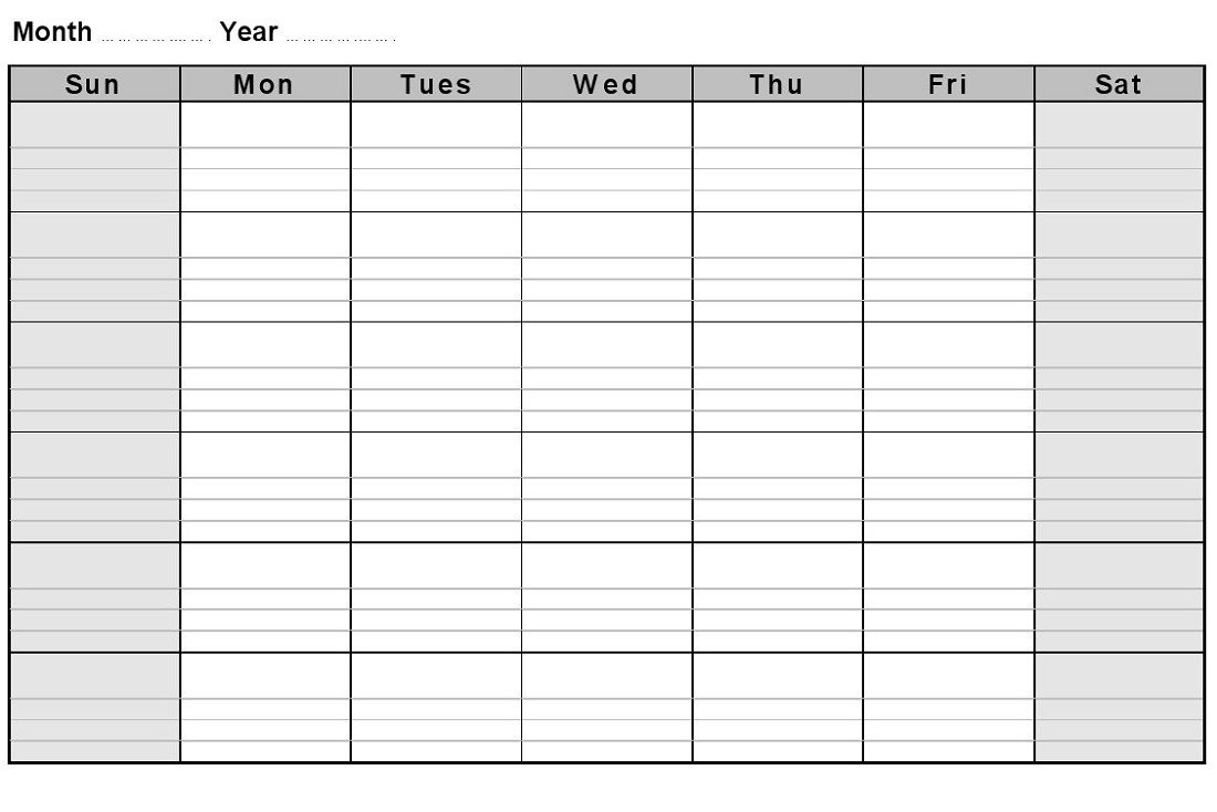 Calendar Month With Notes • Printable Blank Calendar Template