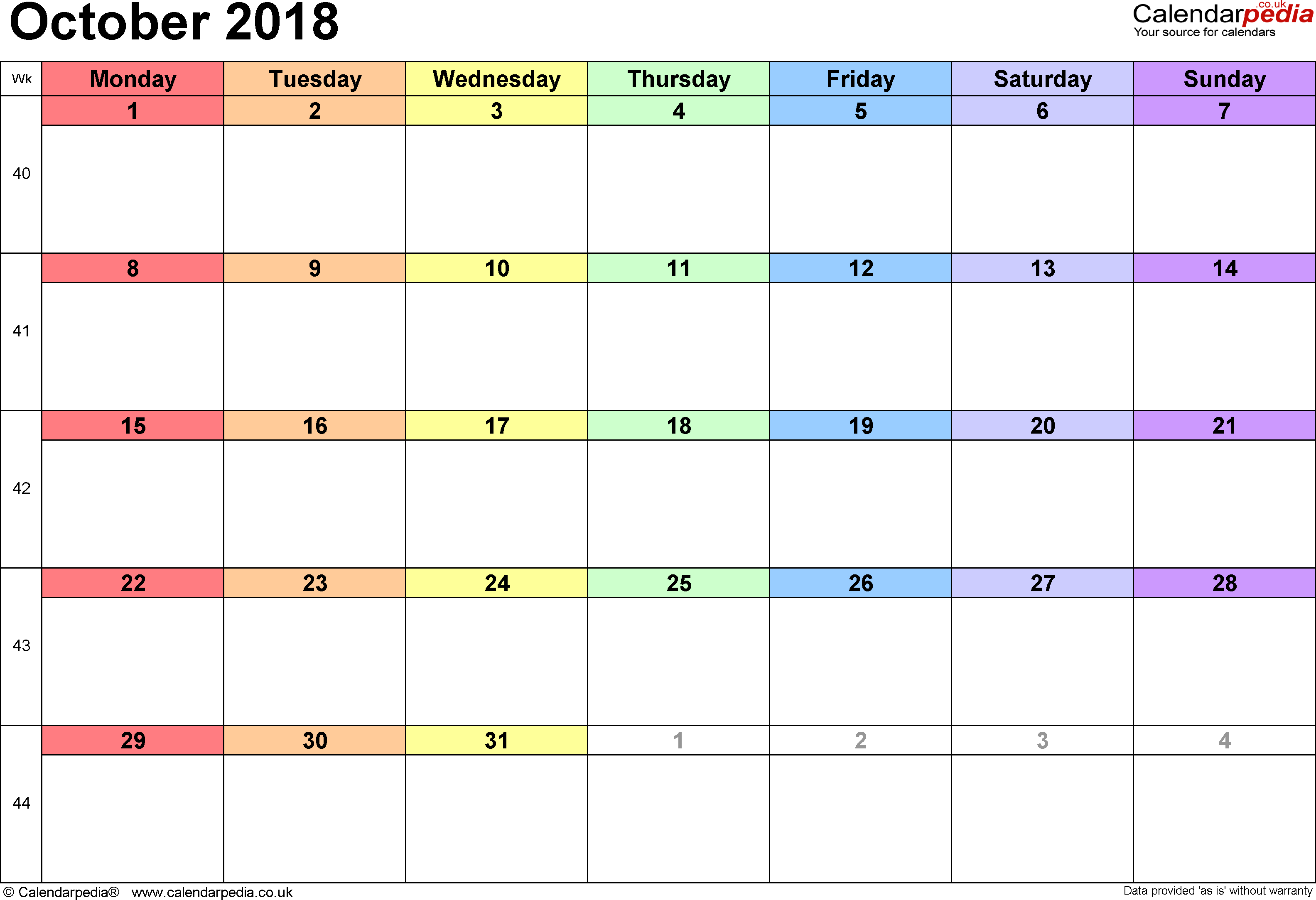 Calendar October 2018 Uk, Bank Holidays, Excel/pdf/word